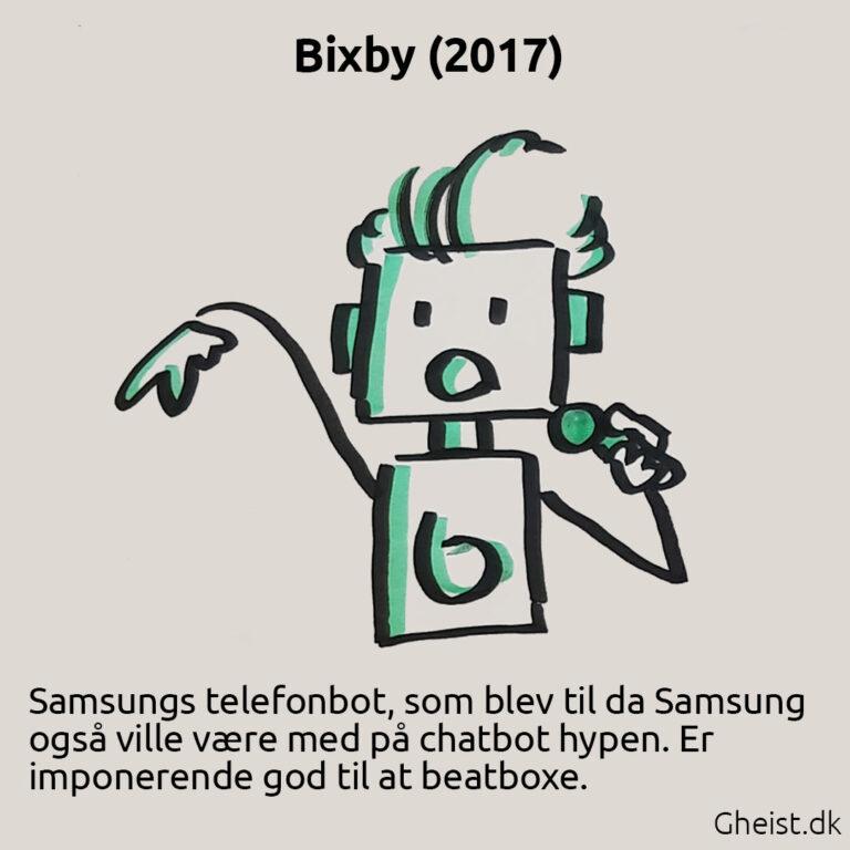 Tegning af Samsung chatbot Bixby