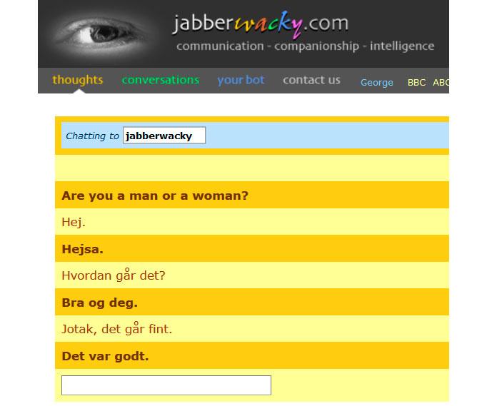 Uddrag fra chat med chatbotten Jabberwacky