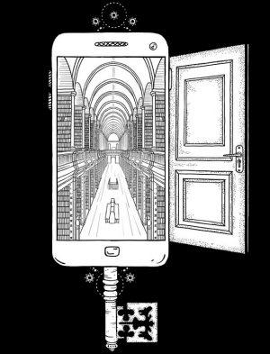 Bibliotek inde i en smartphone som ligner en nøgle