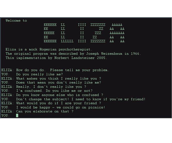 Uddrag fra chat med chatotten ELIZA