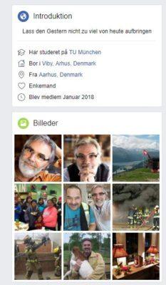 Screenshot af en falsk Facebook profil