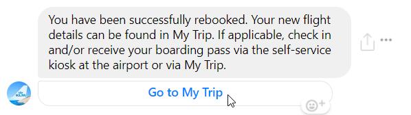 Besked fra KLM chatbot om en rejse på Messenger