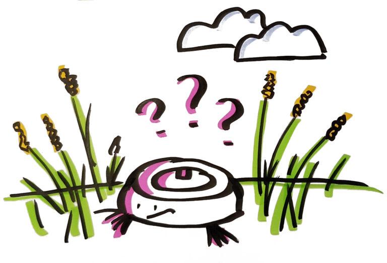 Tegning af en støvsuger bot på en mark